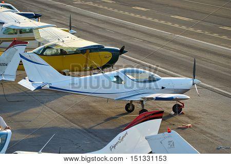 SANTA MONICA, CALIFORNIA - OCT 07, 2016: aircraft parking at Santa Monica Airport in Santa Monica, California USA.
