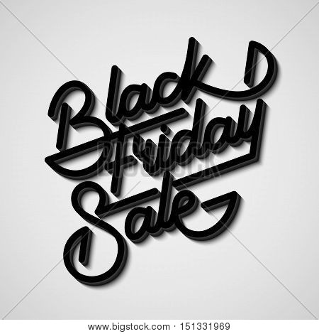 Black Friday Sale handmade lettering, 3d oblique calligraphy with block blended shade and realistic shadow for logo, banners, labels, badges, prints, posters, web, presentation. Vector illustration.