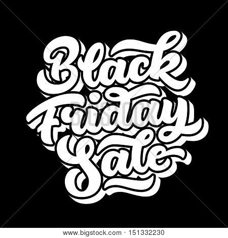 Black Friday Sale handmade lettering, 3d oblique calligraphy with block blended white shade and dark background for logo, banners, labels, badges, posters, web, presentation. Vector illustration.