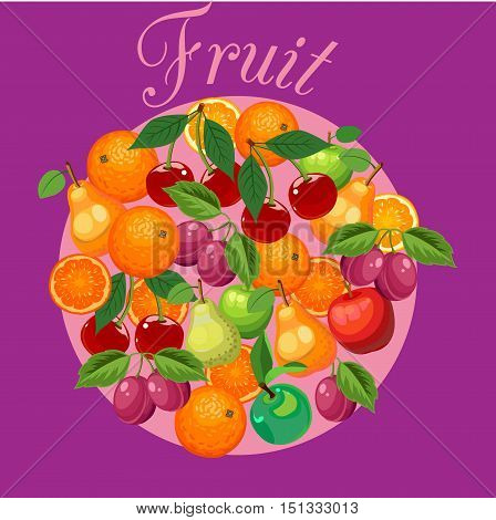 Fruit mixed poster postcard label on a bright juicy background