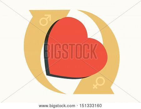 heart symbol with cycling arrows modern gender relationship concept vector illustration