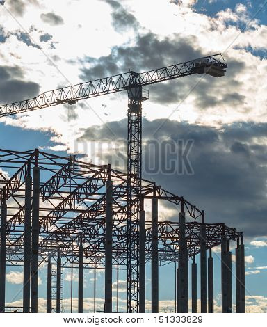 Construction site. Framework of the new building and tower crane above it.