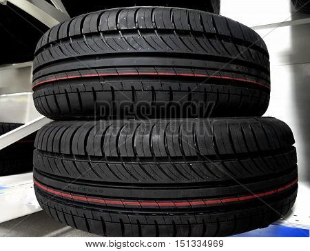 Car parts shop. Design of non studded winter tires detailed