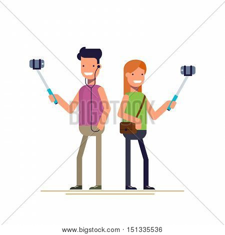 Boy and girl make selfie photos on a smartphone. Happy people. Vector illustration in a flat style isolated on white background