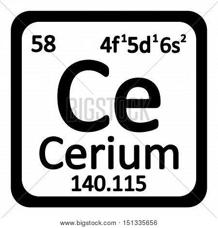Periodic table element cerium icon on white background. Vector illustration.
