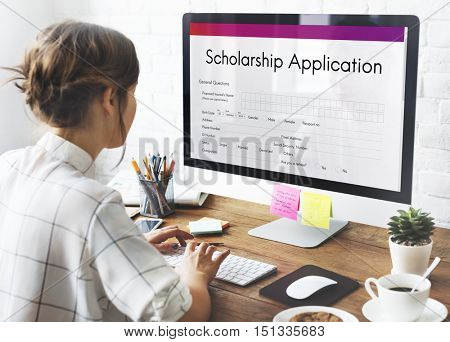 Scholarship Application Document Contract Form Concept