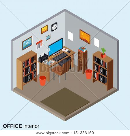Office workplace interior flat isometric vector illustration with equipment and furniture