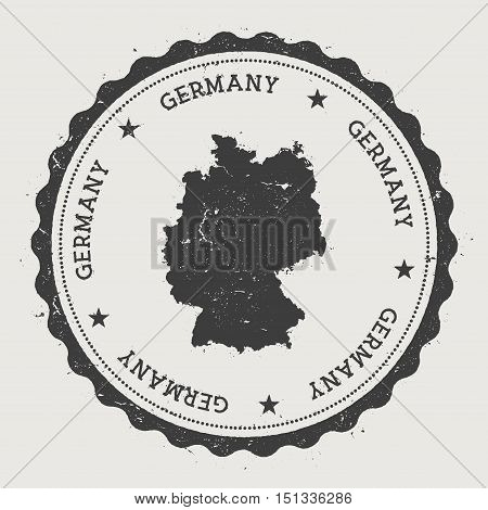 Germany Hipster Round Rubber Stamp With Country Map. Vintage Passport Stamp With Circular Text And S