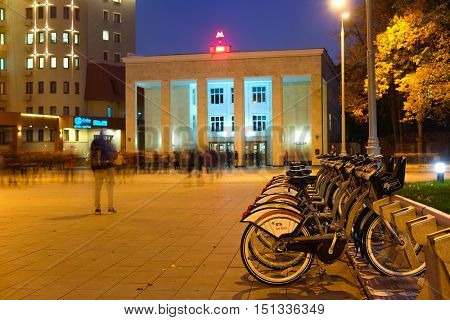 Moscow, Russia - October, 6, 2016: municipal bycicle parking near metro station Sportivnaya in Moscow, Russia