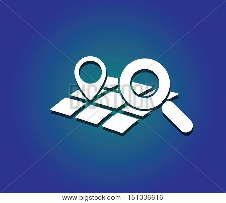geo location mark on map symbol with magnifying glass like modern travel technology vector illustration