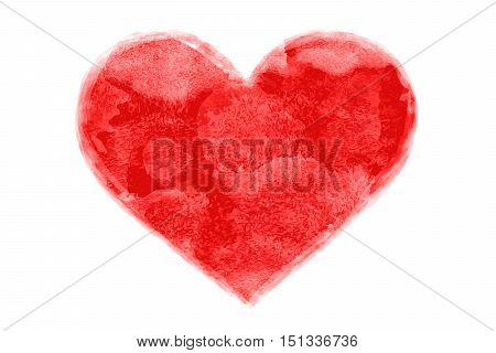 Hand-drawn watercolor painted red heart shape. Red heart symbol on white background. Vector Illustration
