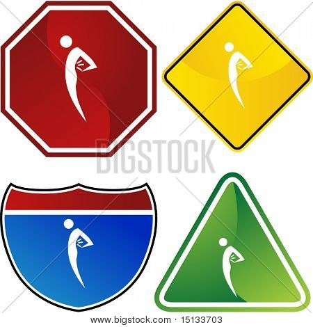 Back pain web button isolated on a background