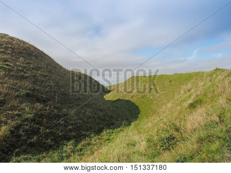 Old Sarum Castle Ditch In Salisbury