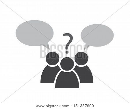 people symbol with speech bubbles and question mark as decision making vector icon illustration