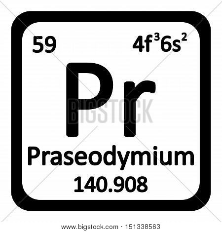 Periodic table element praseodymium icon on white background. Vector illustration.