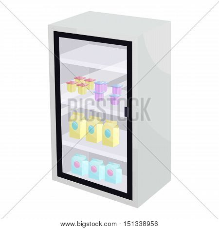 Dairy products in the supermarket refrigerator icon. Cartoon illustration of supermarket fridge vector icon for web