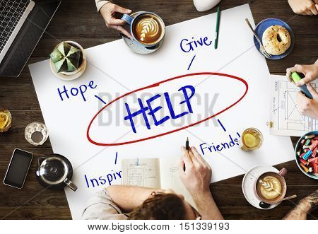 Help Support Care Assistance Concept