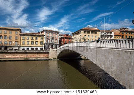 Ponte Di Mezzo Bridge In Pisa, Italy