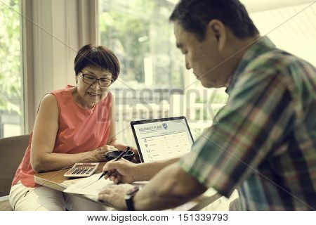 Senior Couple Fulfilling Form Concept