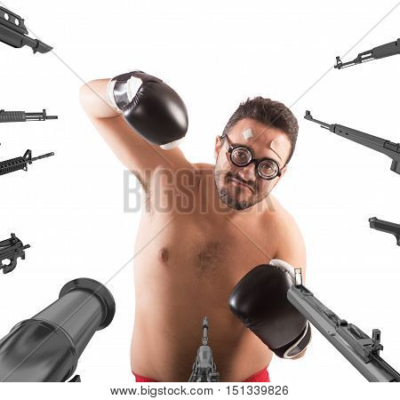 Military weapons pointed on a goofy boxer