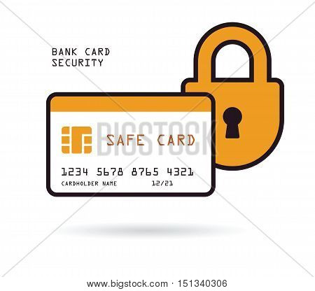 credit card with padlock security and protection financial concept vector illustration