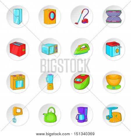 Household appliance icons set. Cartoon illustration of 16 Household appliance vector icons for web
