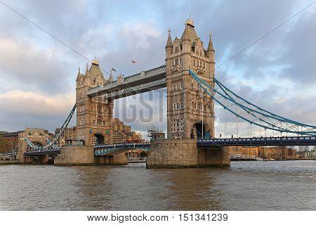 LONDON UNITED KINGDOM - NOVEMBER 23: Tower Bridge in London on NOVEMBER 23 2013. Famous Tower Bridge at Thames RIver in London United Kingdom.
