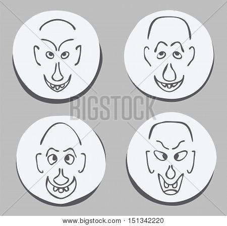 expressive ugly funny men face set hand drawn joke vector illustration