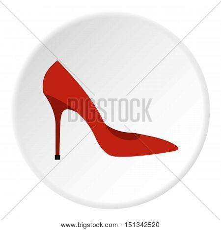 Red woman shoe icon. Flat illustration of shoe vector icon for web design