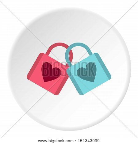 Blue and pink padlocks with heart icon. Flat illustration of padlock vector icon for web design