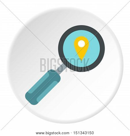 Magnifier with sign GPS icon. Flat illustration of magnifier with sign GPS vector icon for web