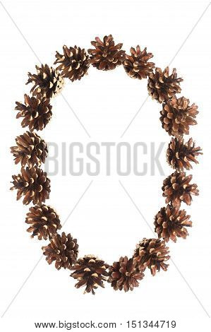 zero number made of pine cone on white