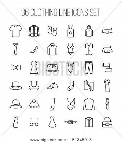Set of clothing icons in modern thin line style. High quality black outline shirt and dress symbols for web site design and mobile apps. Simple linear accessories pictograms on a white background.