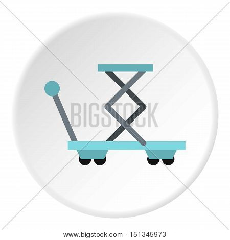 Truck with lifting spring icon. Flat illustration of truck with lifting spring vector icon for web