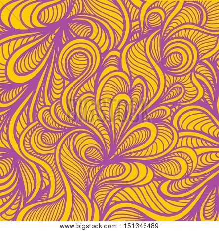 Abstract doodle background  in handmade style orange lilac for wallpaper or for package or for decoration clothes or different thing