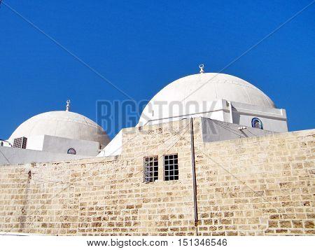 The domes of Mahmoudiya Mosque in old city Jaffa Israel October 11 2010