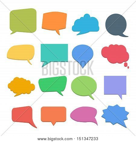 Set of colorful quote or speech bubbles. Vector cute empty quote templates or form. Vector illustration on a white background. Bubble collection.