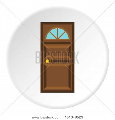 Wooden entrance door icon. Flat illustration of wooden entrance door vector icon for web