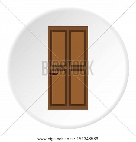 Brown entry door icon. Flat illustration of brown entry door vector icon for web