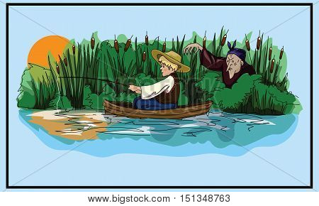 Fairy tale illustration. Ukrainian folk tale. Boy and witch. Postcard. Book Illustration