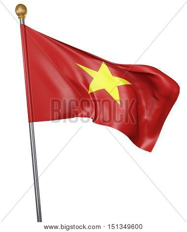 National flag for country of Vietnam isolated on white background, 3D rendering