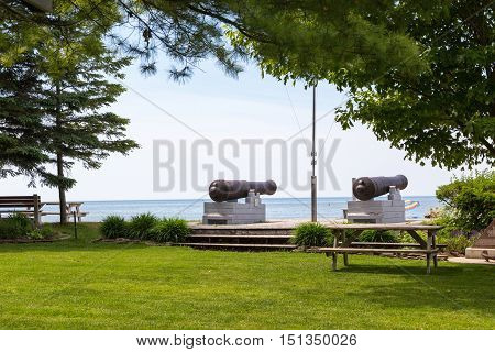 Cannons pointing out over Lake Huron at Pioneer Park Southampton Ontario