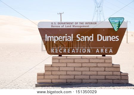 This sign marks the Recreation Area at the Imperial Sand Dunes in California a favorite spot for ATVs and RVs near the border of Mexico.
