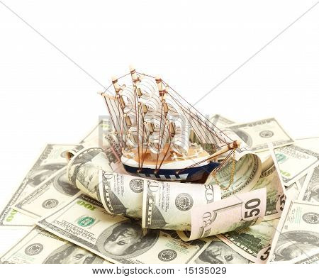 ship and wave from money