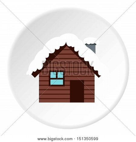 Snowy house icon. Flat illustration of snowy house vector icon for web