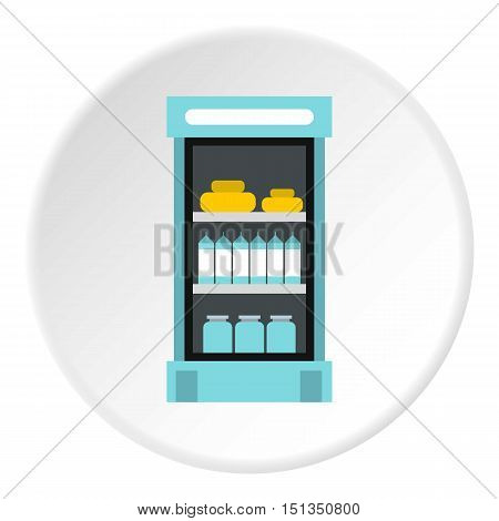 Refrigerator with products in store icon. Flat illustration of refrigerator with products in store vector icon for web
