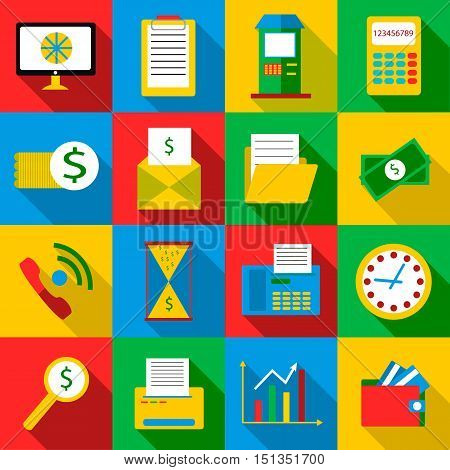 Business planes icons set. Flat illustration of 16 business planes vector icons for web