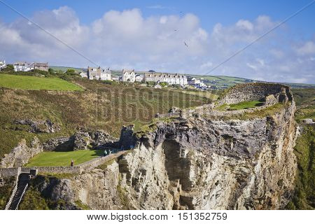 View of Tintagel village from Tintagel castle Cornwall England United Kingdom