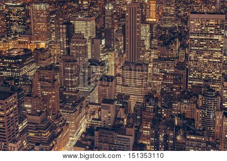 aerial skyline view city lights night time highrise buildings