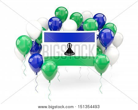 Flag Of Lesotho With Balloons